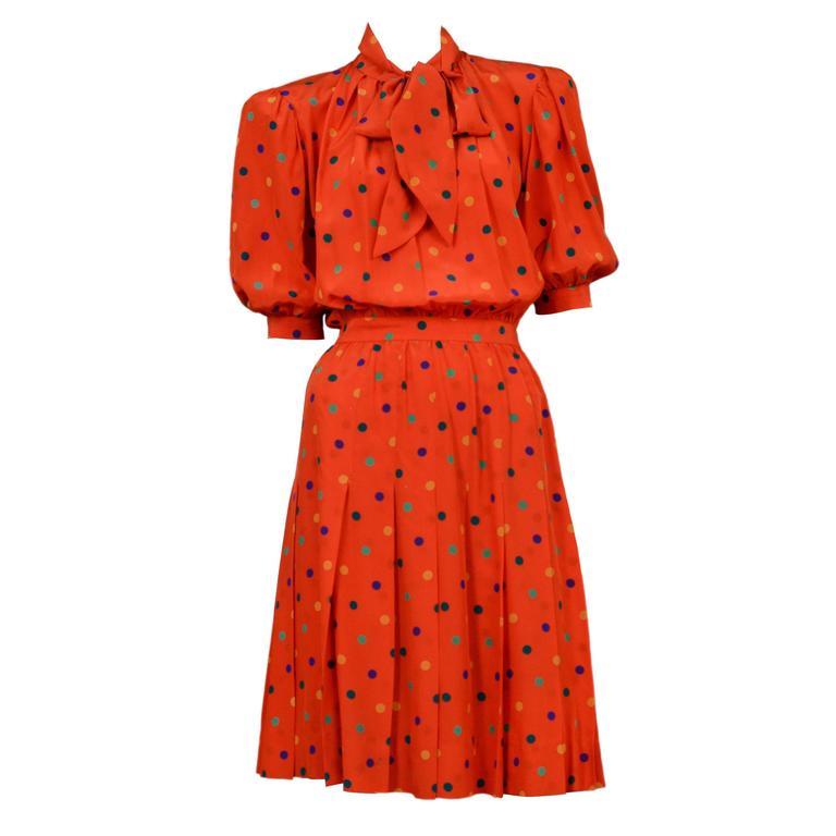 Yves Saint Laurent Red Polka Dot Day Dress 1