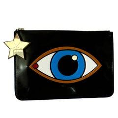 Yazbukey Whimsical Eye Clutch Bag Black Patent + Plexiglass Purse + Dust Bag
