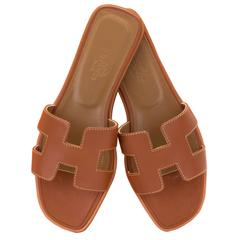 Hermes Woman Sandale Oran Box Leather Moka Piqures Ecrues 37 Gold Color 2016.