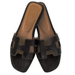 Hermes Woman Sandale Oran Box Moka Piqres Ecrues 37,5 Noir Piqures Ecrues 2016