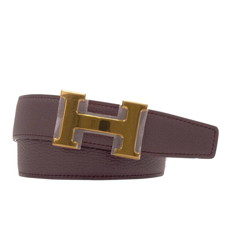 hermes belt h reversible box togo leather noir chocolat