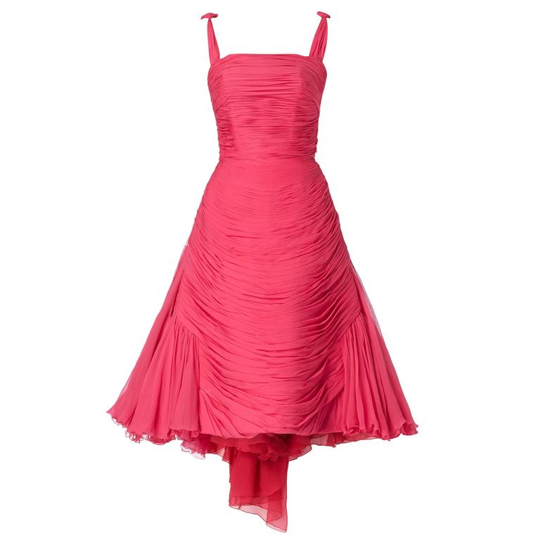Jean Dessès haute couture pink dress, circa 1959