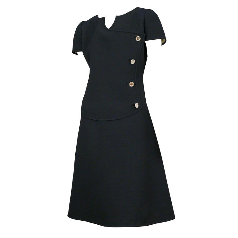 Courreges Black Wool Day Dress