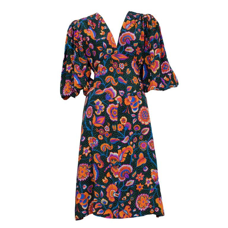 Yves Saint Laurent Multicolor Floral & Green Day Dress 1