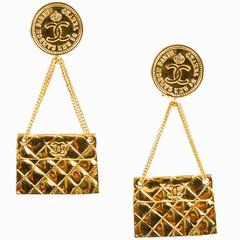 Chanel Gold Tone Quilted Flap Bag 'CC' Coin Dangle Drop Clip On Earrings