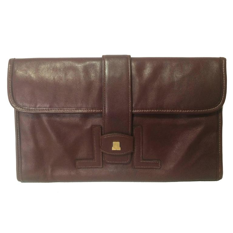 Vintage LANVIN elegant dark wine leather mini document clutch bag. Unisex use.