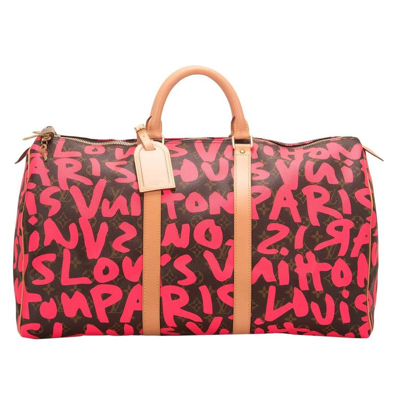 Louis Vuitton Pink Monogram Graffiti Keepall 50 For Sale