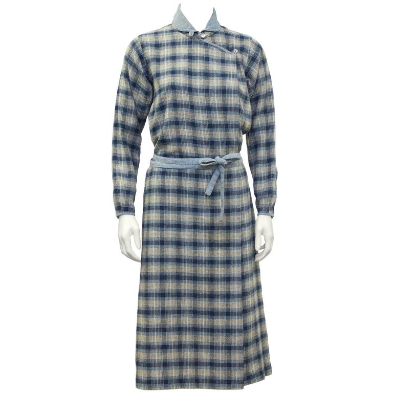 1973 Kenzo Jap Collection Plaid Wool Dress 1