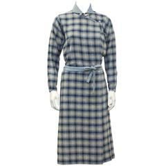 1973 Kenzo Jap Collection Plaid Wool Dress