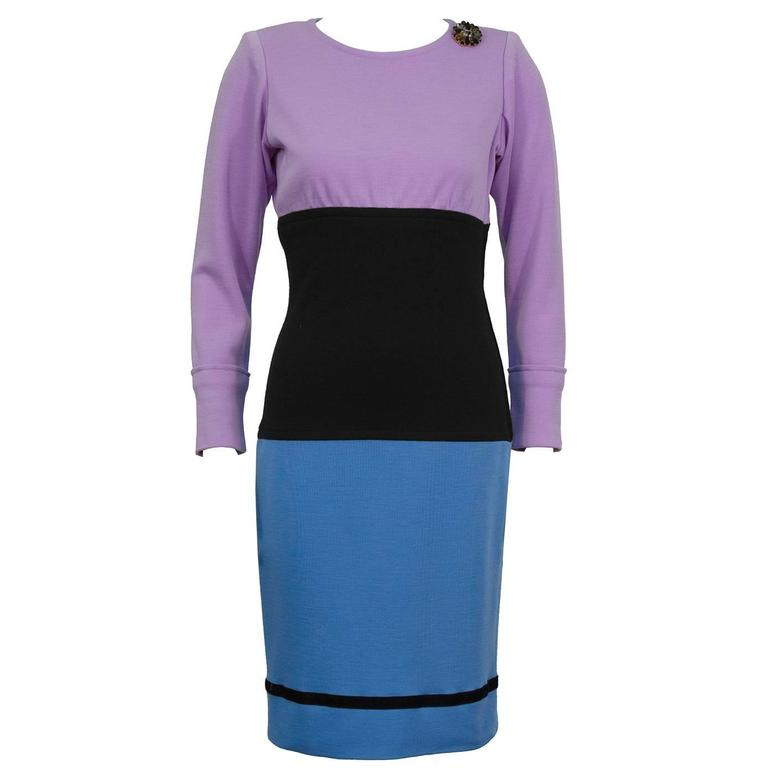 1980's Yves Saint Laurent/YSL Colorblock Day Dress