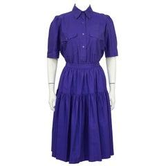 1970's Yves Saint Laurent/YSL Purple Cotton Skirt Ensemble