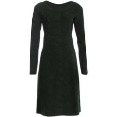 Alaia 2015 Forest Green and Metallic Fit & Flare Dress Sz 38