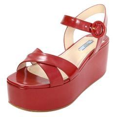 Prada Red Leather Platform Sandals Sz 39 w/ Box