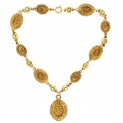 Chanel Gold Pendant Necklace with CC Logo 1970s