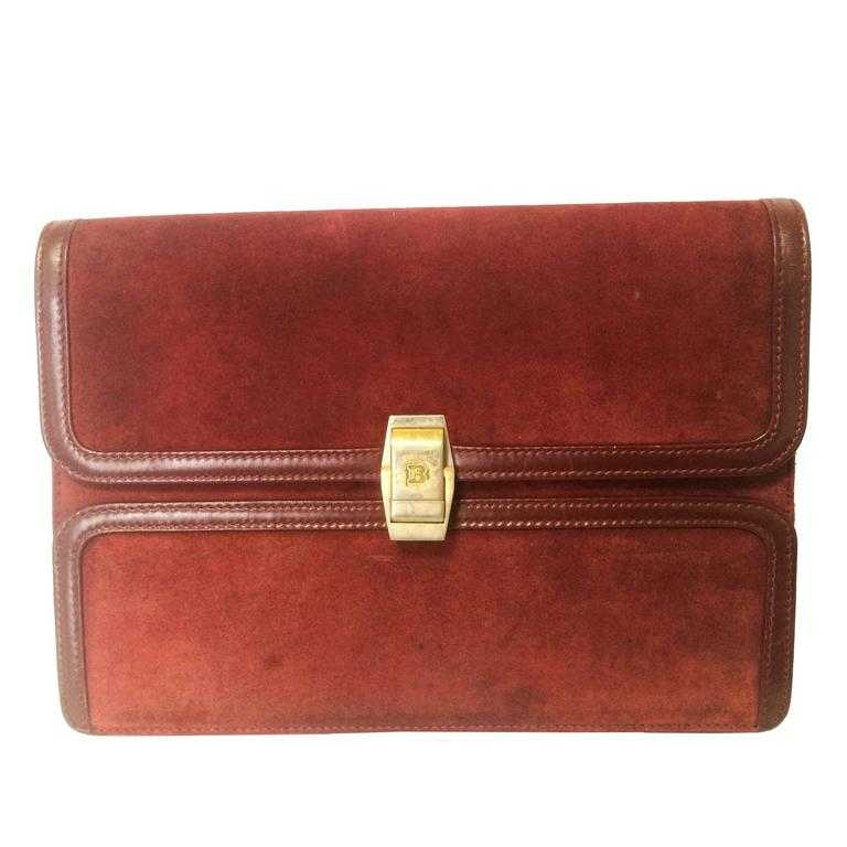 Vintage BALLY genuine wine suede leather clutch bag, mini purse with golden logo