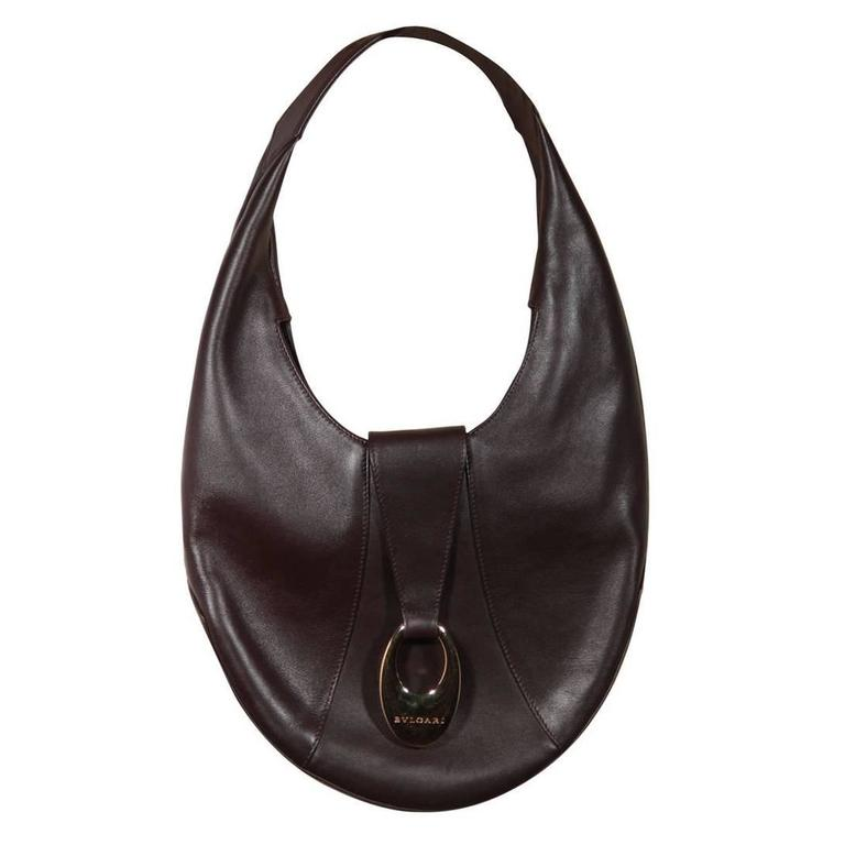 BULGARI BVLGARI Brown Soft Leather HOBO Shoulder Bag OVAL HANDBAG ...