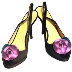 Prada black satin high heels w rose