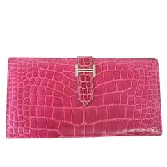 Hermes Bearn Wallet Fuchsia Alligator Bi Fold Long Palladium