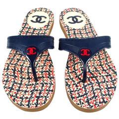 Chanel - Tweed Print Flip Flops