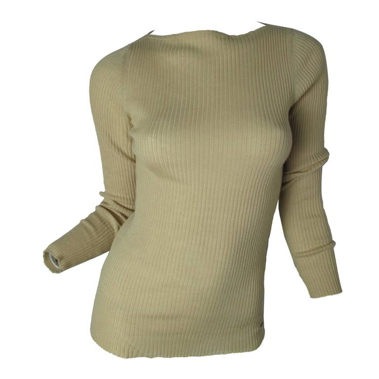 Chanel Beige Cashmere/Silk Ribbed Sweater 1
