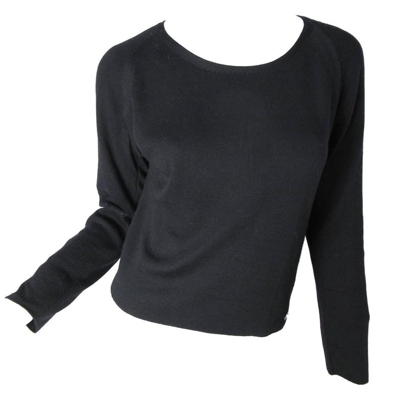 Chanel Black Cashmere Silk Scoop Neck Sweater