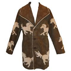 Vintage 1980's Zuki Reversible Western Horse Sheared Beaver & Leather Coat