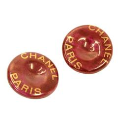 Vintage Chanel Red x Gold Tone Large Round Earrings