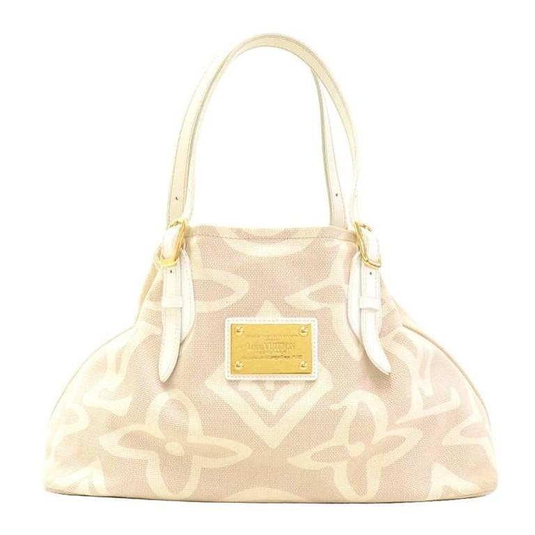 Louis Vuitton Tahitienne Cabas White Leather X Baby Beige Canvas Tote Handbag Wlqaj
