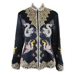 Vintage Silk Satin Asian Hand Beaded Silk Satin Jacket, 1960s