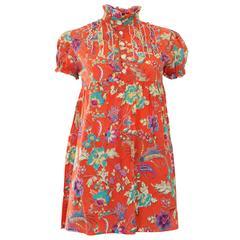 1990s Missoni Orange Floral Cotton Blouse