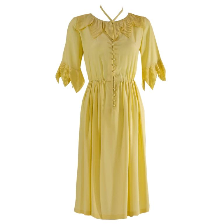 1970s Karl Lagerfeld for Chloé Soft Yellow Silk Accordian Pleat Collar Dress