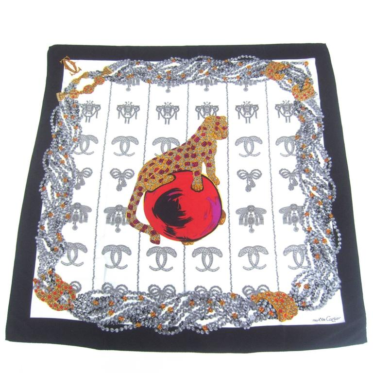 Cartier Paris Elegant Silk Jeweled Panther Scarf c 1980s 1