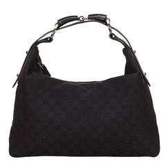Gucci Black Jacquard GG Horse Bit Shoulder Bag