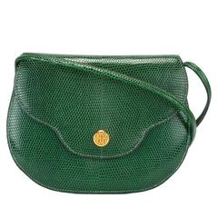 Gorgeous Hermes 70s green lizard bag