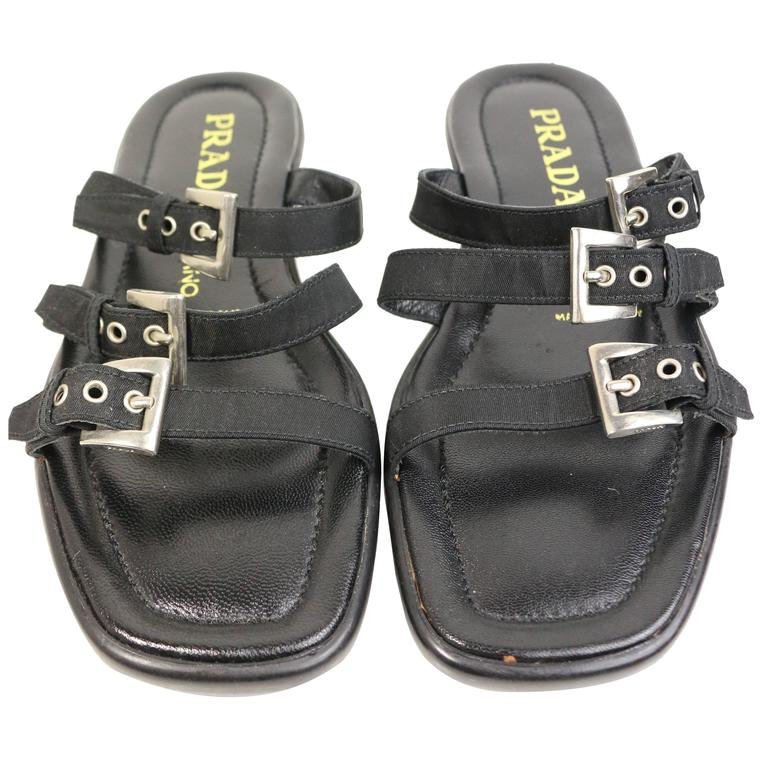 Prada Black Leather Slip-On Sandals