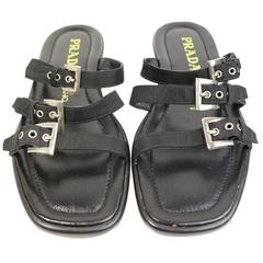 Prada Black Leather Slip-On Sandals