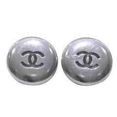 1996 Spring Chanel Silver Button Clip Earrings
