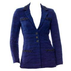 Beautiful Chanel Black & Blue Tweed Riding Jacket Blazer