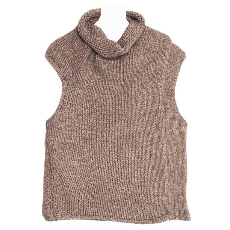 Celine Grey Brown Chunky Sleeveless Knit