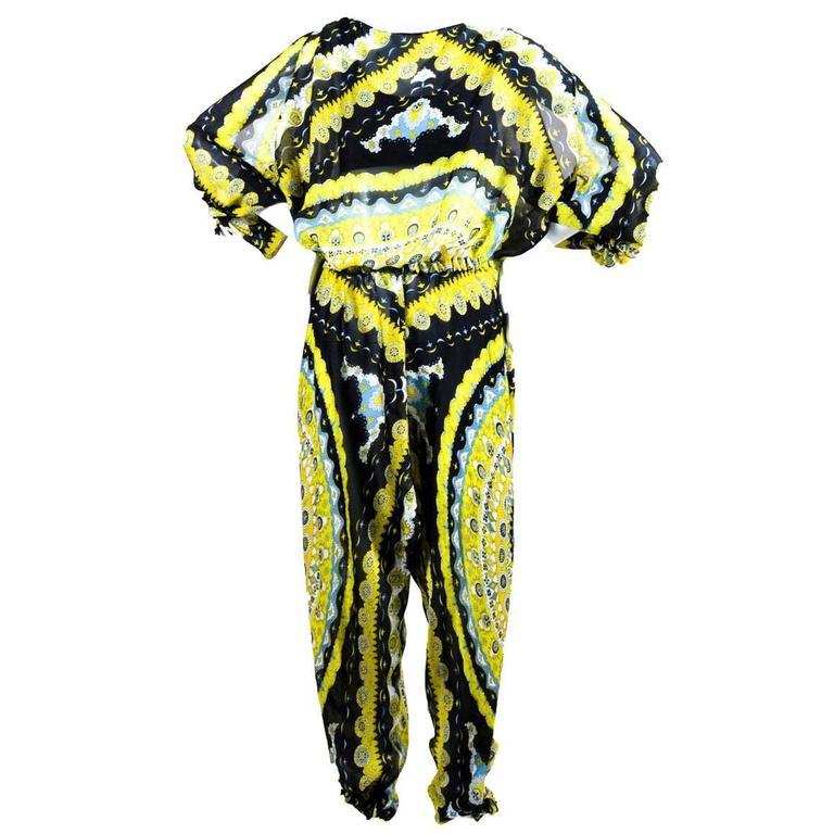 Emilio Pucci Signature Print Paisley Silk Jumpsuit