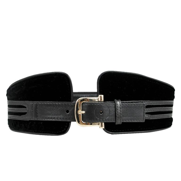 Tom Ford for Gucci Black Velvet & Leather Belt