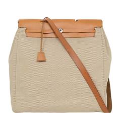 Hermes Tan and Beige Toile Two-in-One Herbag with Dusbag