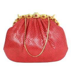 Judith Leiber Red Karung Snakeskin Clutch with GHW