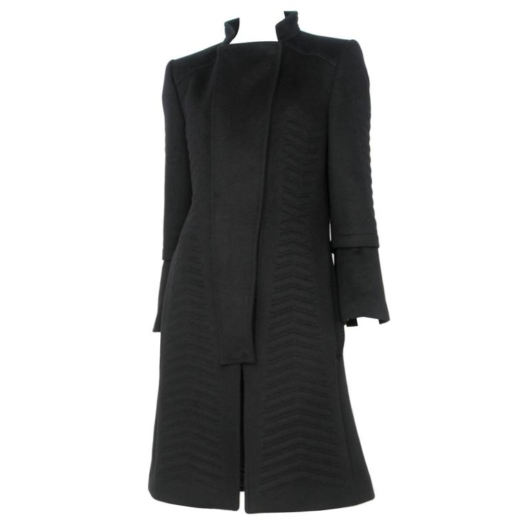 Tom Ford for Gucci Black Angora Chevron Coat