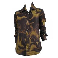 Tom Ford for Gucci Marble Print Silk Shirt