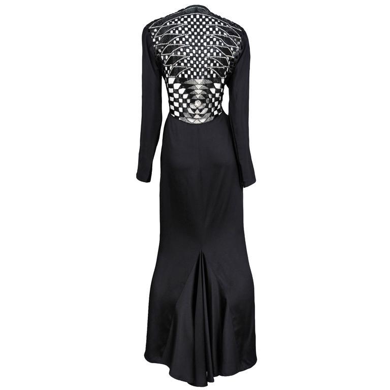 Versace Black Deco Cutout Gown For Sale