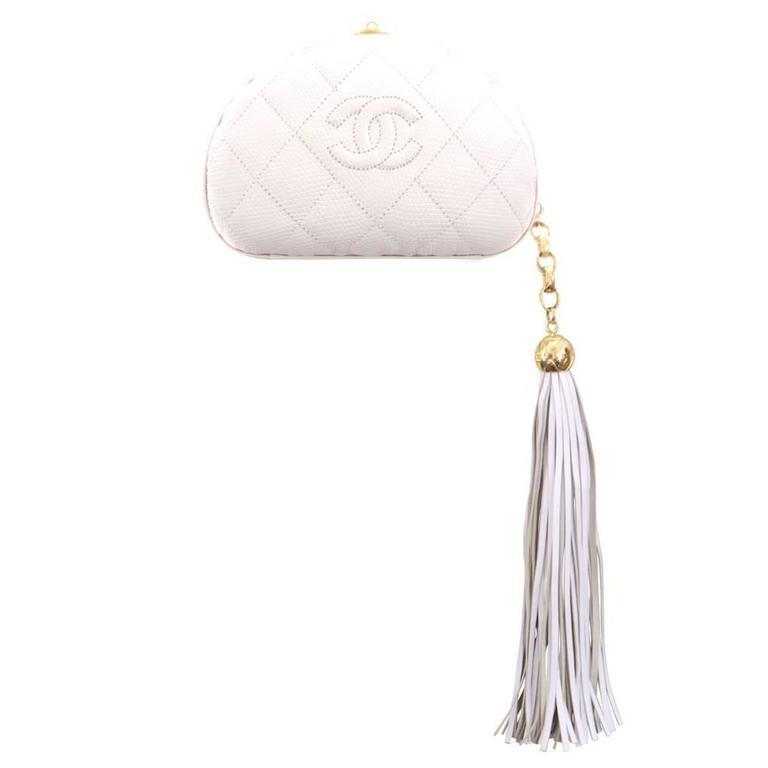 1980s Chanel White Lizard Skin Half Moon Long Tassel Clutch Bag Rare