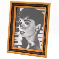 Mid-Century Modernist Picture Photo Frame Orange & Black Plastic Raffia 1960s