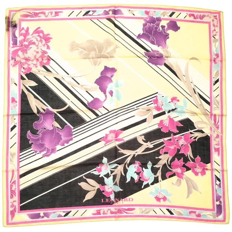 New Leonard Magnificent Floral Scarf For Sale