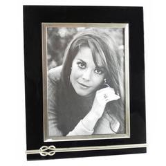 Black Lucite & Chrome Vanity Picture Photo Frame circa 1970s